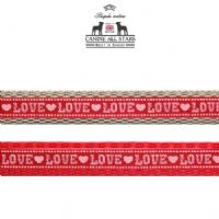 DOG LEAD - LOVE RED (RIBBON 10mm)